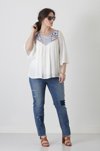 Jeans droit patchwork