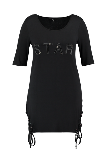 T-shirt long avec texte et lacet