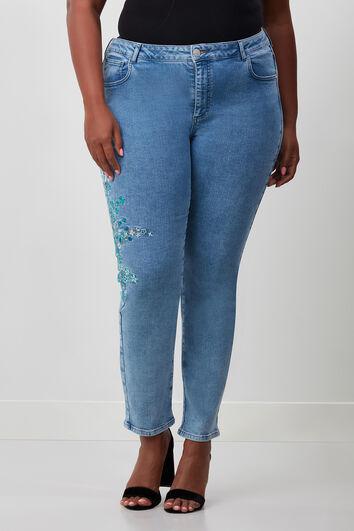 Slim leg jeans avec broderies