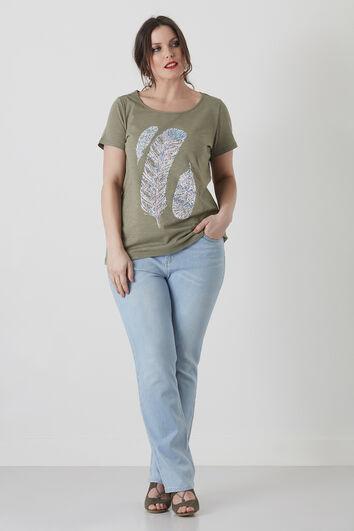 T-shirt basique à motif plumes