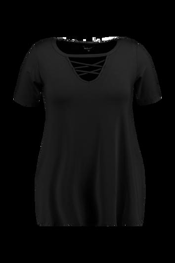 T-shirt avec fente en V et bretelles croisées