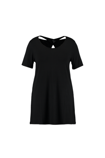 T-shirt long uni avec détails dans le dos