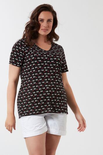 T-shirt imprimé intégral avec col en V