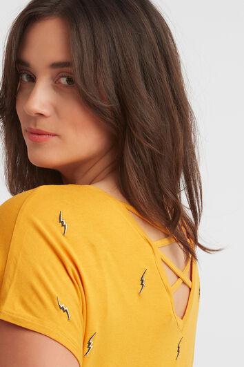 T-shirt brodé avec bretelles croisées