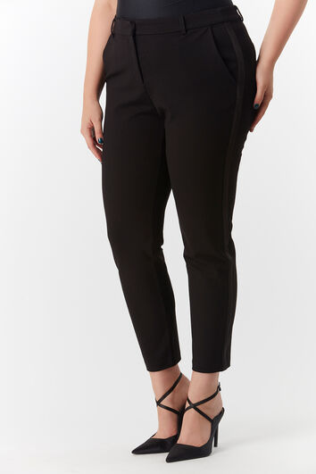 Pantalon avec bande en satin