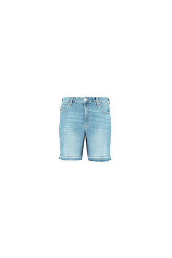 Short en denim à bord effiloché