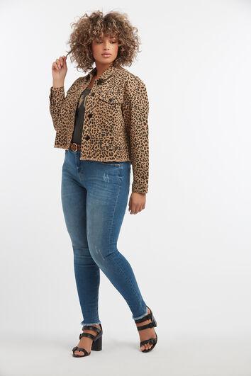 Veste courte à imprimé léopard