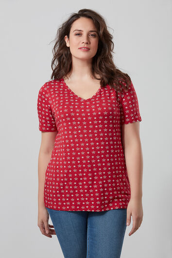 T-shirt imprimé avec col en V