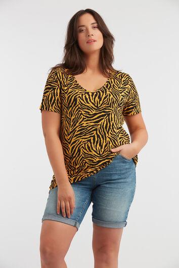 T-shirt avec col en V et imprimé zèbre