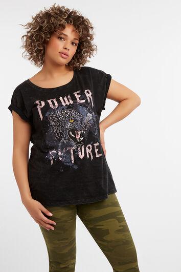 T-shirt imprimé avec manches à paillettes