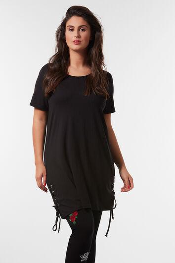 T-shirt long à lacets