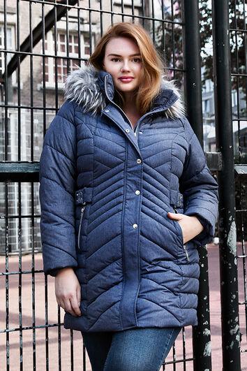 Manteau d'hiver matelassé avec col en fausse fourrure