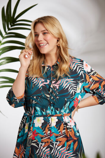 Robe chemisier à imprimé tropical
