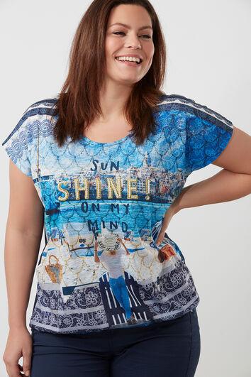 Tee-shirt à fausses perles et imprimé