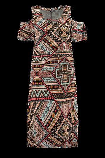 Robe longue imprimée avec épaules ajourées