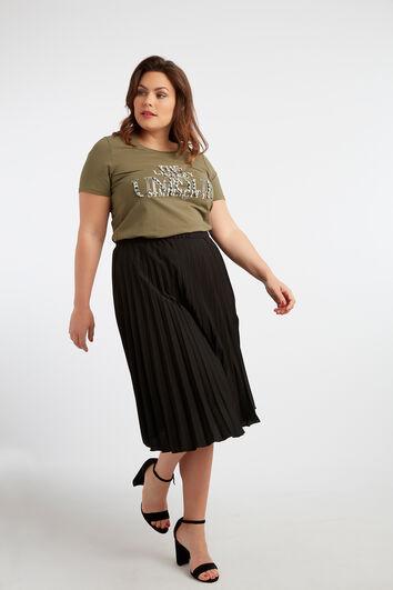 T-shirt à imprimé textuel et des strass