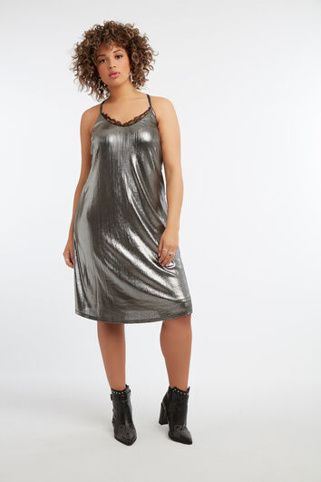 Robe sans manches métallisée