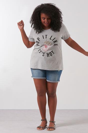 T-shirt avec fausses perles de culture