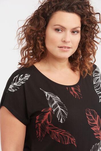 T-shirt à imprimé plumes