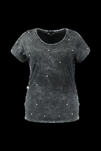 T-shirt délavé avec fausses perles de culture