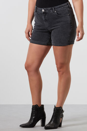 Short en denim délavé à l'acide