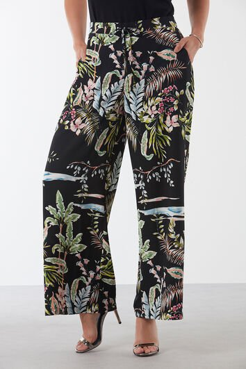 Pantalon fleuri à coupe ample