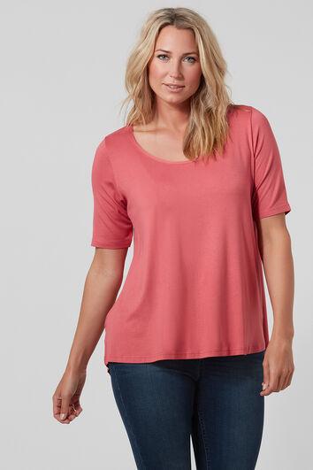 T-shirt uni avec ourlet asymétrique