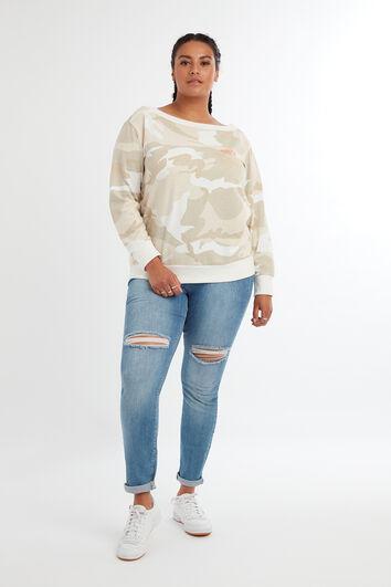 Sweat-shirt à épaules dénudées et imprimé camouflage