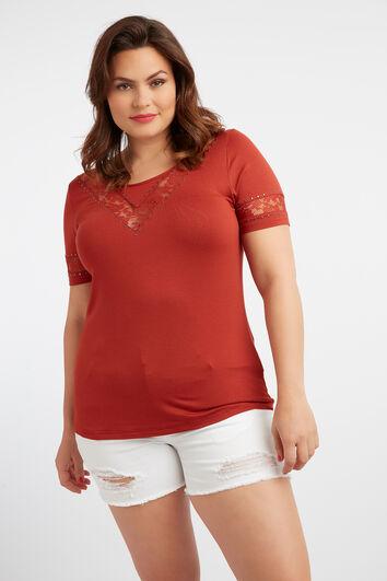 T-shirt avec détails en dentelle