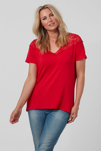 T-shirt avec col en V et dentelle
