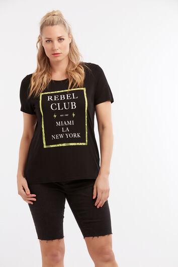 T-shirt avec texte imprimé et dentelle