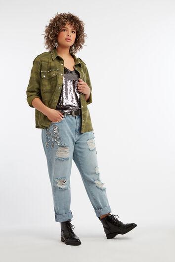 Jeans boyfriend avec strass