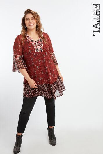 Robe tunique à imprimé floral