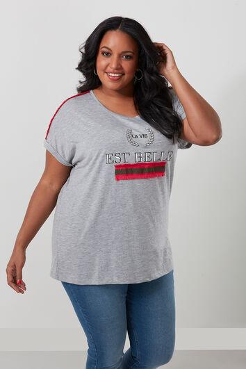 T-shirt avec texte imprimé et strass