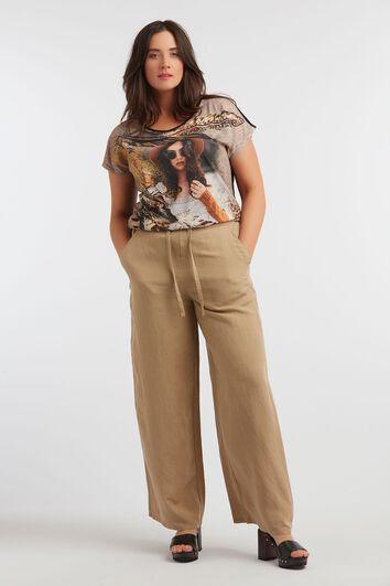 Pantalon en mélange de lin à jambes larges