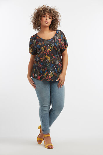 T-shirt avec imprimé tropical et détails dans le dos