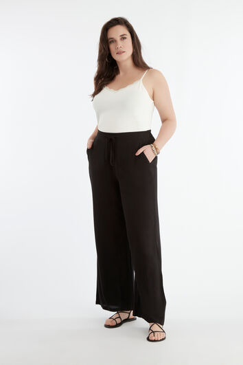 Pantalon large couleur unie