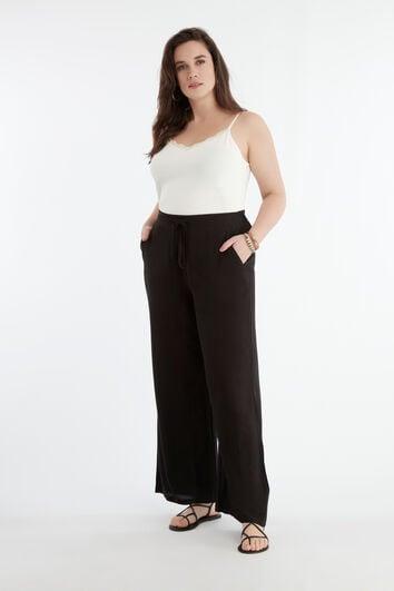 Pantalon large couleur unie