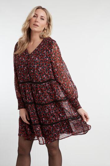 Robe à fleurs avec des décors froncés
