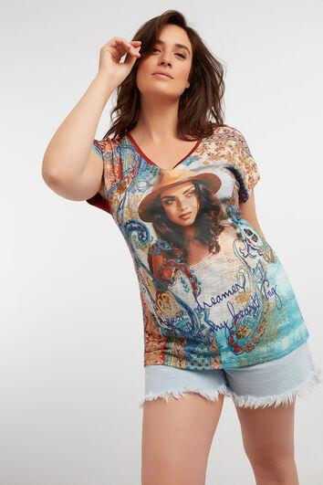 T-shirt avec empiècement imprimé