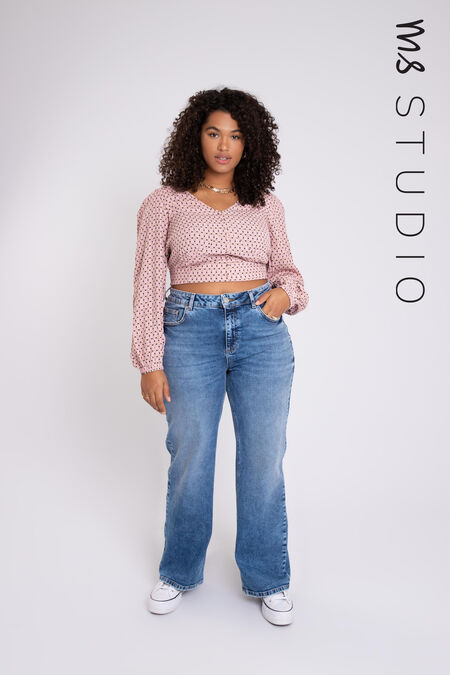 Jeans taille haute à jambes larges