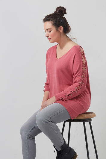 Pull-over à lacets