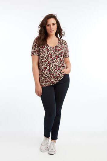 T-shirt col en V avec imprimé